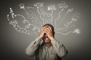 stress drukte in hoofd gedachtes